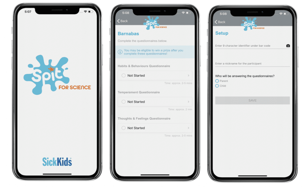 SickKids Application on Phone