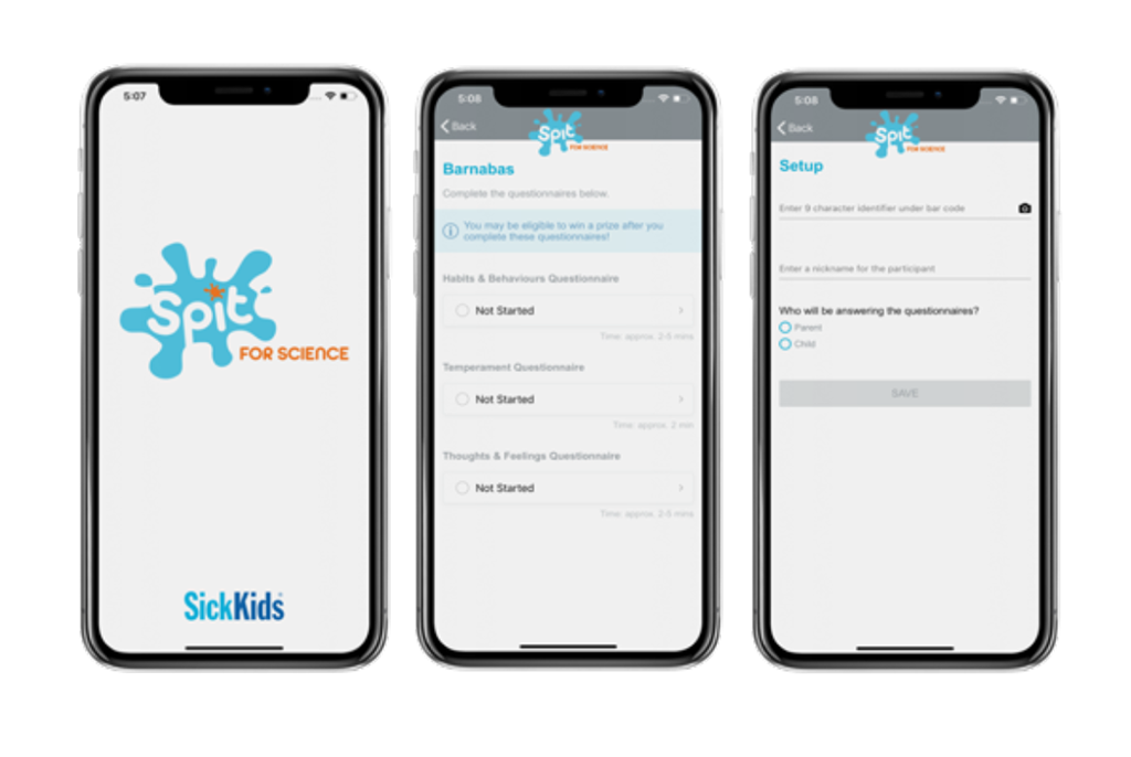 Sick Kids App on Mobile Device