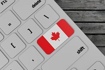 Keyboard and Canadian Flag